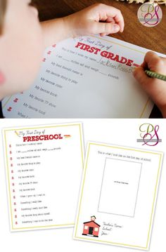 Back-to-school Interview sheets. So fun to start from Preschool and do it every year, then put in a scrapbook. Free printables from Positively Splendid.