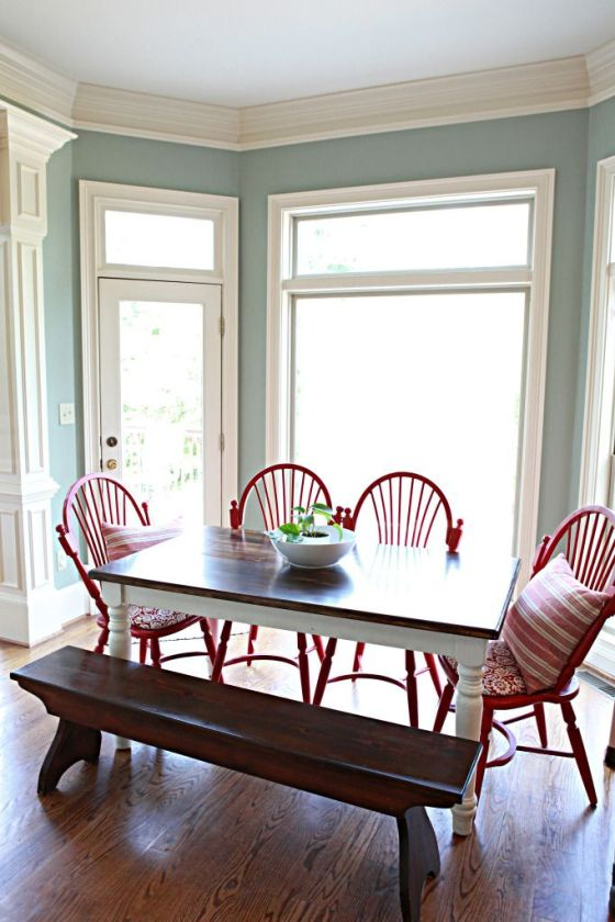 Light blue walls with red kitchen chairs. | Two Million Miles