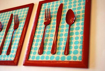 Super easy DIY! Just get some silverware at the Dollar Store or use some old ones, spray them and a frame and then add some patterned paper to the back. Glue the silverware on. | Two Million Miles