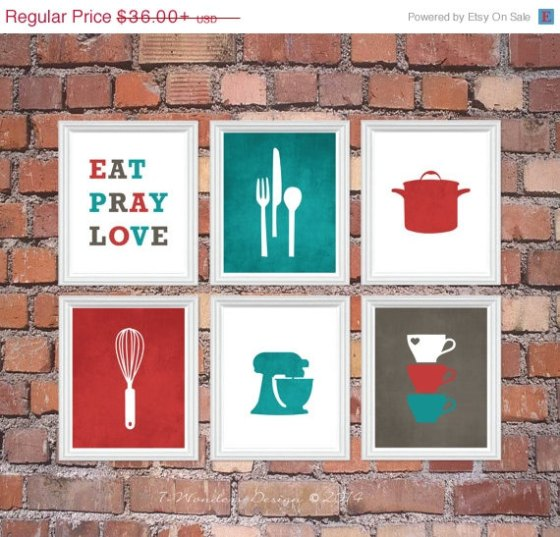 Super cute kitchen printables. You can even customize the colors to match your kitchen. | Two Million Miles