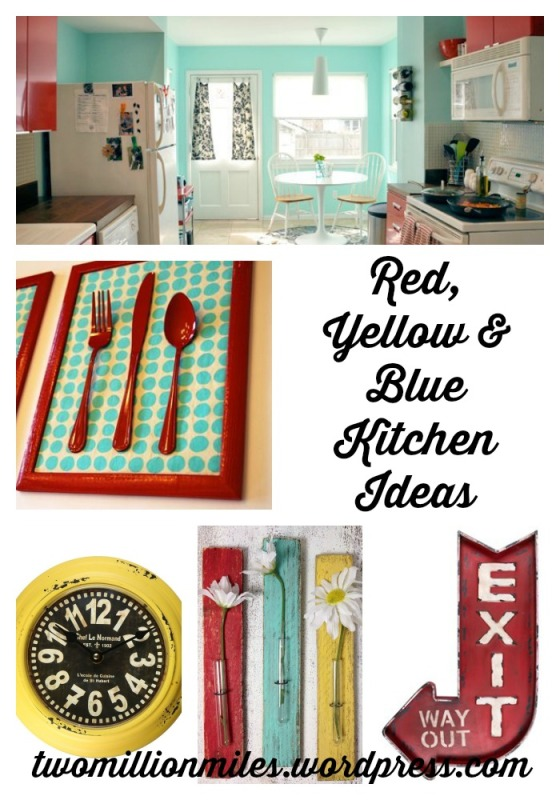 Red, yellow and blue Kitchen Inspiration. Perfect for the vintage/retro look. | Two Million Miles