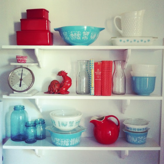 Loving the red, blue and white vintage dishes on this hutch. | Two Million Miles
